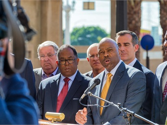 Media event on March 12, 2015, announcing the Metro Board's decision to hire Phillip Washington as the new CEO of the agency. Photo: LA Metro