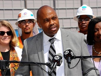 L.A. Metro CEO Phil Washington pictured at a June 3, 2016 Purple Line Ext media event to announce beginning of decking for future Wilshire/La Brea Station. Photo by Juan Ocampo for Metro.