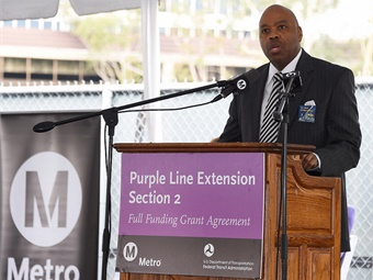 L.A. Metro CEO Phil Washington at the Purple Line Ext section 2 federal funding ceremony held Jan. 4, 2017, at site of future Century City Station. Photo by Juan Ocampo for Metro.