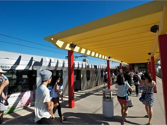 Los Angeles Metro CEO Phil Washington announced last year that he wants to implement a congestion-charging plan to help fund free transit. Metro rail system pictured.