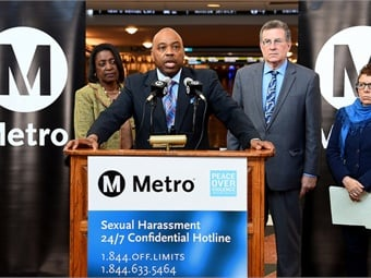 L.A. Metro CEO Phil Washington addresses the media at Union Station East Portal on Jan. 11, 2017, to announce new hotline from the group Peace Over Violence for victims of sexual harassment on Metro. Photo: Metro - Los Angeles