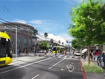 A rendering of the East San Fernando Valley Transit Corridor Project. L.A. Metro