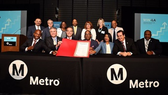 Officials taking pledge at WIN-LA event July 28, 2017 in downtown Los Angeles. Photo by Juan Ocampo for Metro.
