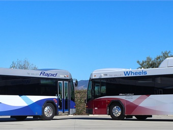 The buses still carry the familiar red, white, and blue Wheels colors, but the design has been modernized and the look and logo are now complementary to the design of LAVTA's Rapid buses.