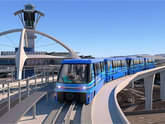 People mover as it rides by the iconic Theme Building LAX. Image: LAWA
