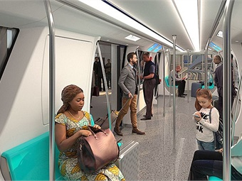 Rendering of people mover interior. Image: LAWA
