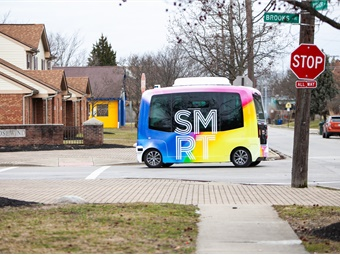 Two all-electric vehicles, serviced by autonomous mobility provider EasyMile, will service the 2.9-mile route with shuttles arriving at each of four stops approximately every 12 minutes. LEAP