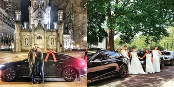 """The Teslas and """"Convoy"""" package have replaced the traditional limousine service at eMotion and are used regularly for special nights out like engagements (L) and wedding convoys (R)."""