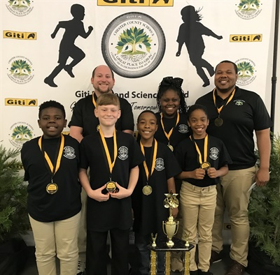 The winners from the elementary school division of Giti's math and science contest for Chester County schools in South Carolina.