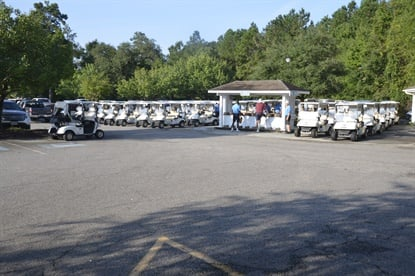 Golf carts are lined up for the charity tournament. In 2015 144 golfers participated.