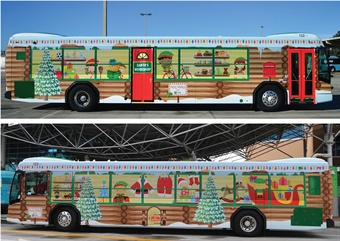 LYNX's holiday bus wrap gave riders a glimpse of Santa's workshop on the outside. Photo: LYNX
