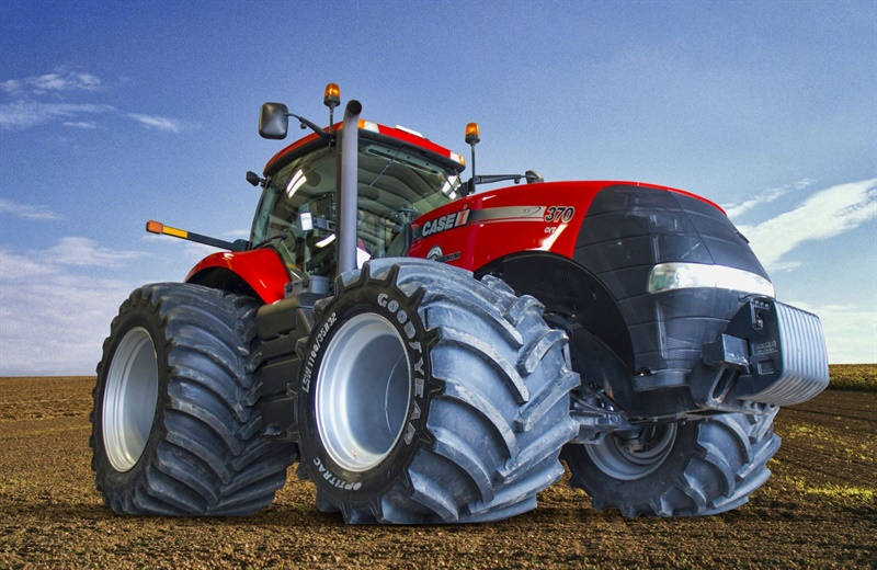 Titan says the Goodyear OptiTrac LSW1100/35R32 and LSW1250/35R46 configuration is the world's largest super single tire setup currently available for MFWD tractors.