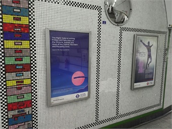 London Night Tube promotional posters – Tottenham Court Road Station.