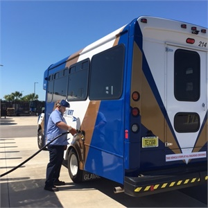 There are almost 1,000 shuttles equipped with a ROUSH CleanTech propane system operating across the nation, including Delaware Transit Corp., Greater Cleveland Regional Transit Authority, Florida's LeeTran (pictured), and San Diego Metropolitan Transit
