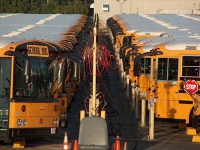 The district started converting its fleet to CNG about four years ago to reduce fuel costs and emissions. Photo courtesy Lee's Summit R-7 School District