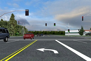 Researchers say that this driving simulator illustrates the complexity of the permitted left turn: watching the signal, watching the traffic and watching for pedestrians at the same time. Image courtesy of Oregon State University.
