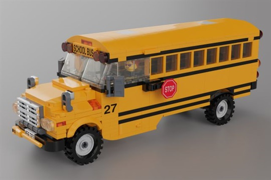 Inspired by his son's love of yellow buses, Nathan Roberts created a Lego school bus concept.
