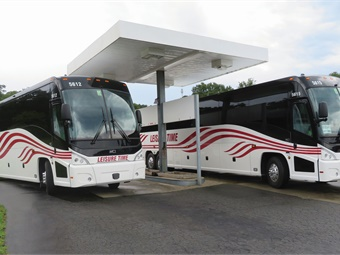 Leisure Time's latest purchase — three new 2018 MCI J4500 coaches — feature all-new interiors with best-in-class, 56-seat legroom.