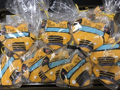 Staff and students at Lemira Elementary School in Sumter, S.C., showed their love for their bus drivers with personalized cookies that were homemade by one of the school's teachers. Photo courtesy Leslie Dowling