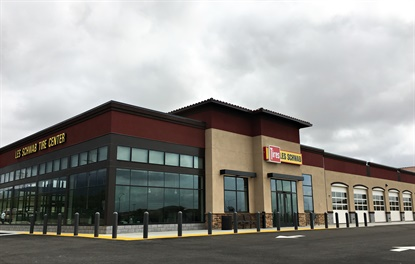 During grand opening events at its five new stores, including the Fontana store pictured, consumers' vehicles can get theLes Schwab Free Pre-Trip Safety Check.
