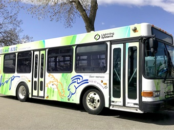 A Lightning Systems' battery-electric converted bus. Photo: Lightning Systems