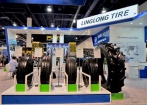 Shandong Linglong Tire Co.is displaying its Green Max brand at its booth at the SEMA Show.