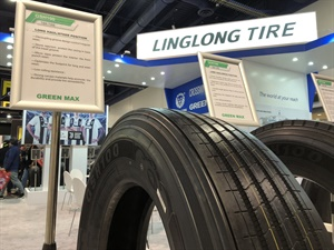 The GSH100 TBR tire from Linglong Tire offers low rolling resistance and has a decoupling groove to control irregular wear.