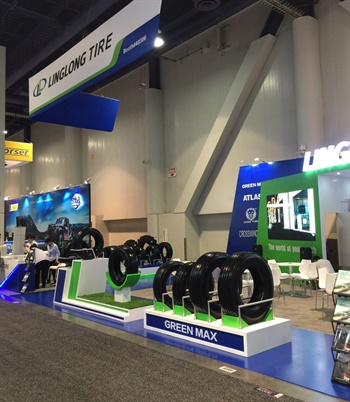 Linglong is promoting its green and eco-friendly tires at its booth at the SEMA Show.