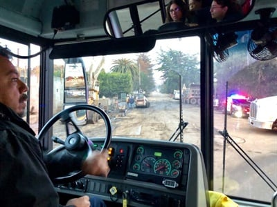 Carpinteria (Calif.) Unified School District school bus drivers recently transported critical personnel for their district and the area, traversing a wet, muddy section of Highway 101 that was closed due to mudslides.
