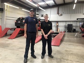 Owners Dean Schwartz (left) and Larry Johnson treat the alignment racks at Lloyd's Tire and Auto Care as profit centers. The Santa Cruz, Calif., store has goals and processes in place to align 15 to 20 vehicles a day in four dedicated alignment bays.