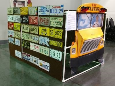 Markham's school bus license plate display won a first-place award at the Automobile License Plate Collectors Association's 2017  convention.