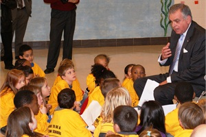 U.S. Transportation Secretary Ray LaHood spoke to students and answered a variety of questions from them at a Love the Bus event in Takoma Park, Md., in 2011.Photo courtesy U.S. DOT