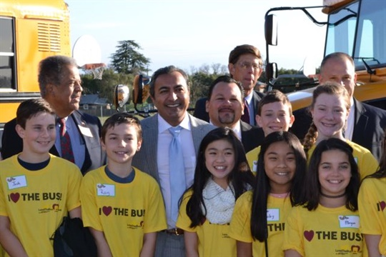 ASBC is encouraging school districts and contractors to hold Love the Bus celebrations in February. Seen here is a 2016 Love the Bus event in California.