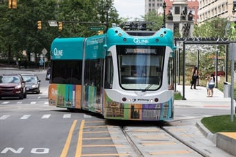 Six QLINE vehicles provide efficient, convenient transportation to Detroit's most important destinations for business, medical care, education, art, sports, and entertainment. Photo: HNTB
