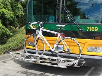 Sportworks' Apex 3 rack is a three-position rack that is compact enough to use on a full-sized, cutaway or paratransit bus.