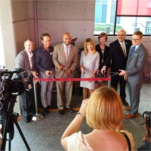 A ribbon-cutting ceremony took place Tuesday, Aug. 25 at the Lindbergh Center station with representatives from the MARTA Board of Directors, the Atlanta Bicycle Coalition and MailChimp. Photo: MARTA