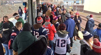 A record 215,000 passengers rode the system on the day of the Patriots' Super Bowl Victory Parade on Feb. 7, 2017. Photo: Keolis Boston/Twitter