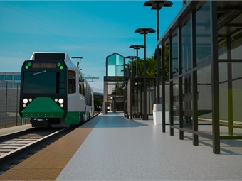 Construction of the 4.3-mile Green Light Rail extension is expected to begin later this year, with revenue service beginning in 2021. Image: GLXC