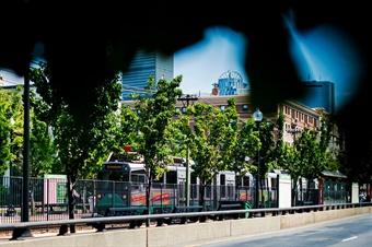 MBTA Green Line stops at Northeastern University. Photo: Adam Glanzman-Northeastern University