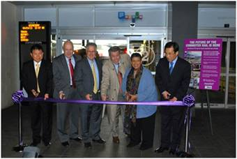 Left to Right: Hyundai-Rotem Vice-Chairman Han, MBTA CFO Jonathan Davis, State Senator Thomas McGee, MBCR General Manager Hugh Kiley, MBTA GM Dr. Beverly Scott, Consul General of Korea Kangho Park at the ribbon-cutting ceremony for the new commuter cars.