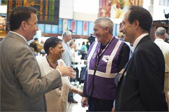 MBTA CEO/GM Beverly Scott pictured with Eric Asselin, executive VP/GM for Keolis North America to her left.