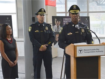 MBTA Transit Police Chief Kenneth Green speaking during the campaign announcement.