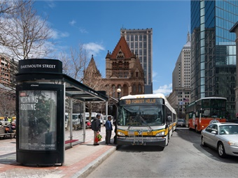 As part of its new bus service revamp, MBTA will meet with riders at bus stops to get their feedback about their experiences and suggestions for improvement. Photo: MBTA