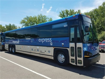 The new coaches, decaled with CTtransit branding, offer style, comfort, and the latest communications technology.