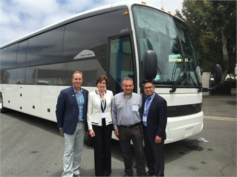 MCI showcased Corporate Coach's new S 407 at its customer-appreciation Reliability Rally in Los Alamitos, Calif., on June 1. Pictured from left are Brent Maitland, VP,marketing and product planning; Patricia Ziska, VP, new coach sales; Paul Eshaghi, Corporate Coach Charter and Tours founder; and Dave Dorr, regional VP, sales.