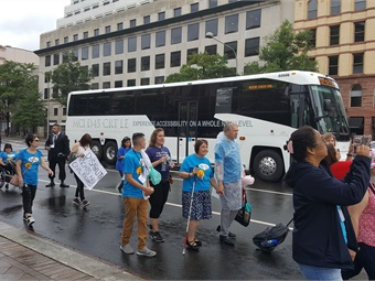Motor Coach Industries new D45 CRT LE Commuter Coach at the July 24 March to the U.S. Capitol, sponsored by the National Council on Independent Living. Photo: MCI