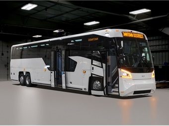 Introduced in 2017, the MCI D45 CRT LE features modern styling and a patented mid-coach low-entry vestibule with passenger seating and curb-level ramp system.