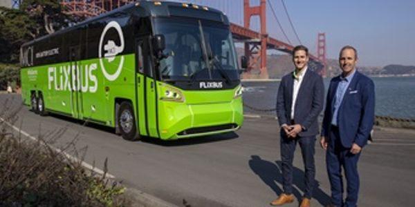 Michael Kahn, head of business development at FlixBus USA (left) and Brent Maitland, MCI's VP,...