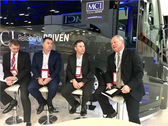 NFI's Brian Dewsnup, and MCI's Ian Smart, MCI's JP Pelletier, and NFI's Paul Soubry (shown left to right) were on hand for the special MCI press event at the UMA 2018 EXPO on Jan. 8, 2018.
