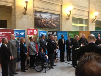 Sen. Dick Durbin speaks at the RTA event in Chicago's Union Station.